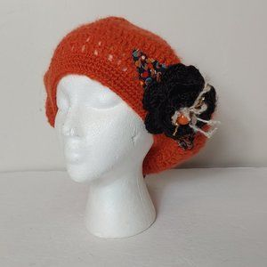 NWT Knit Beret Flower Bead Hat Jeanne Simmons